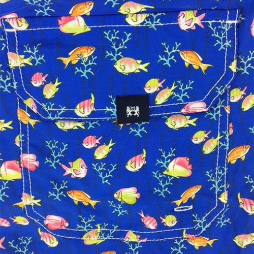 Costume da bagno blu fantasia pesci