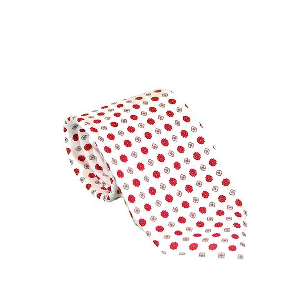 Cravatta seta bianca fiori
