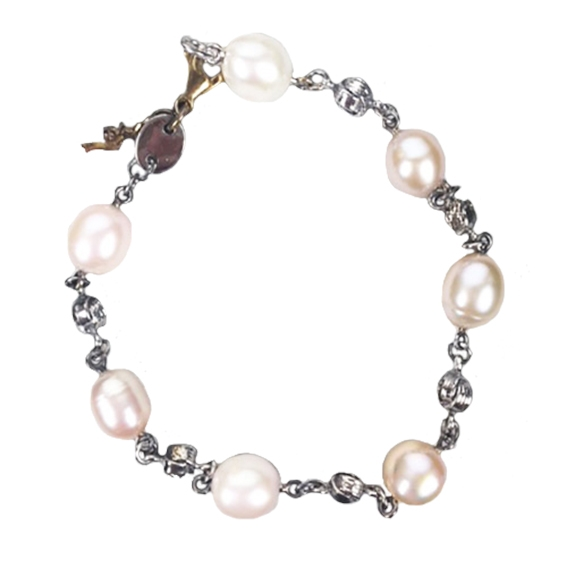 Bracciale con perle rosate varie