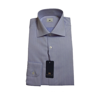Camicia Spigata Collo Francese Azzurra