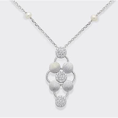 Collana in argento 925 - Perle Fresh Water 5/5-5 6/6-5 e Zirconi