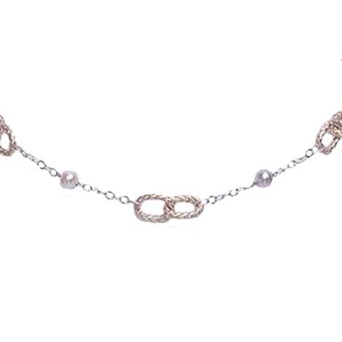 Collana in argento 925 Perle Fresh Water MU 6/6-5 7/7-5