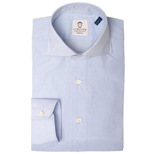 Camicia azzurra voile cotone