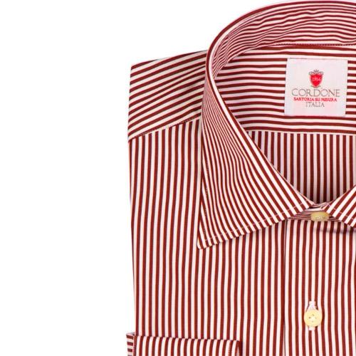 Camicia Dandy Cotone Righe Bianche e Bordeaux