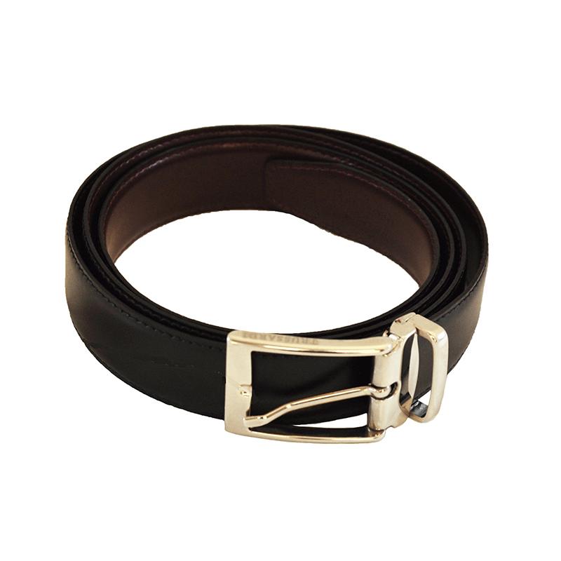 Cintura nero-grigio in pelle