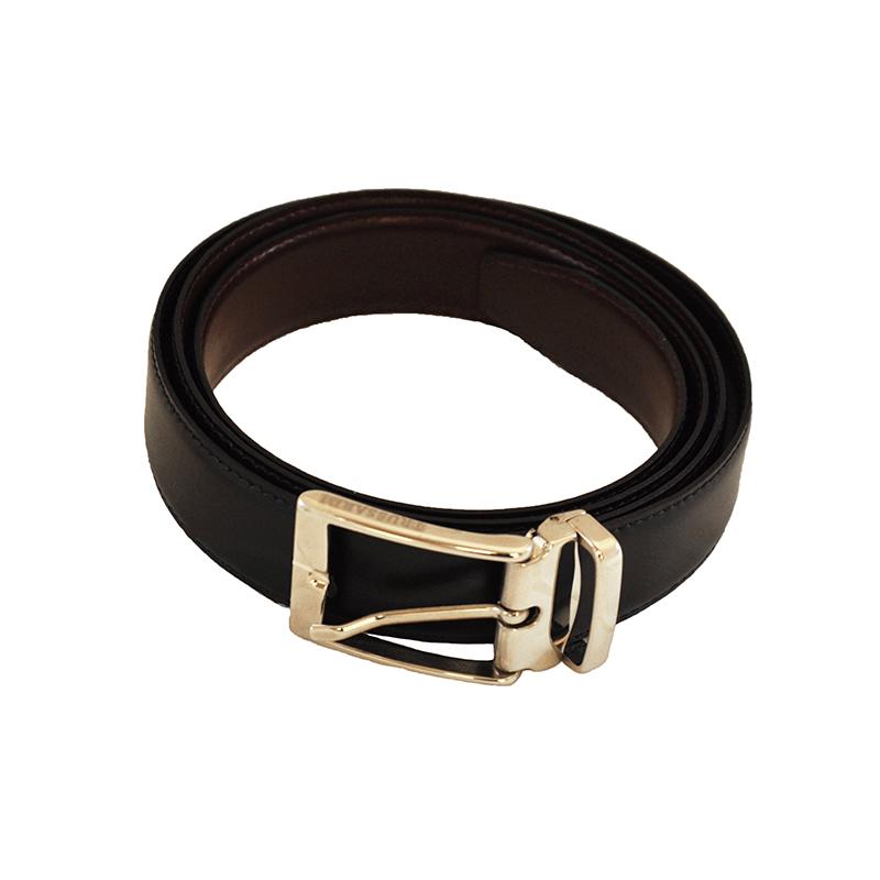 Cintura nero-bordeaux in pelle
