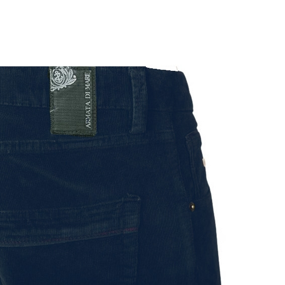 Pantalone Velluto Blu Petrolio