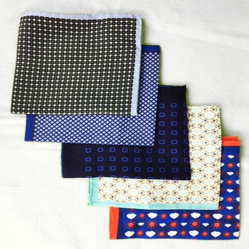 Pochette fantasia 5 pz - blu piccoli fiori, blu scuro quadrati