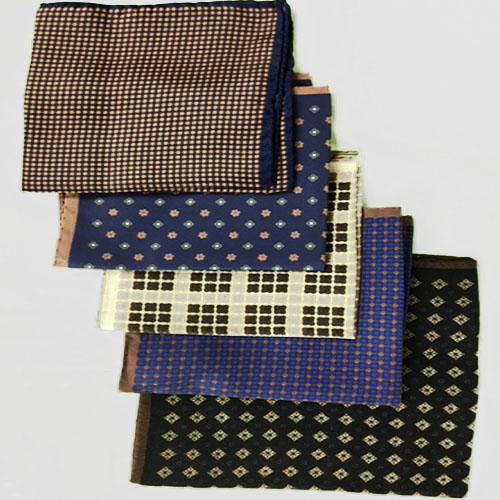 Pochette fantasia 5pz - Blu e Ruggine piccoli quadrati, Marrone rombi