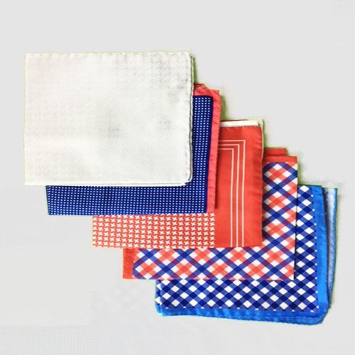 Pochette fantasia 5pz  -  blu e rosso piccoli pois, ghiaccio