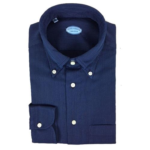 Camicia blu righe nere sottili-Collo Capri