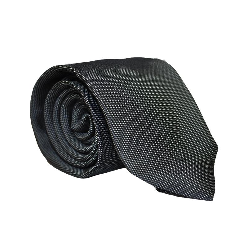 Cravatta seta nera pois