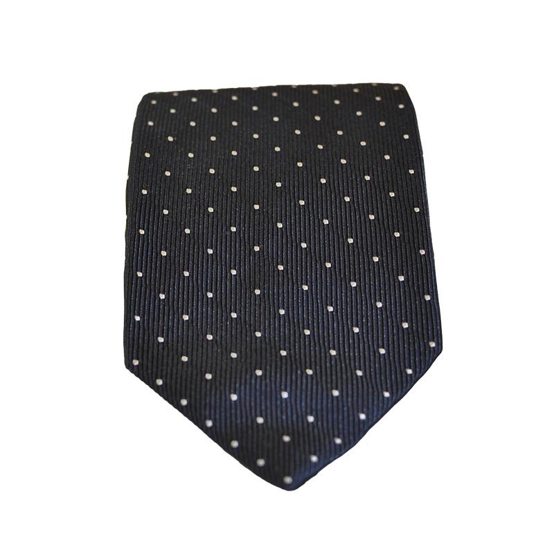 Cravatta seta blu pois
