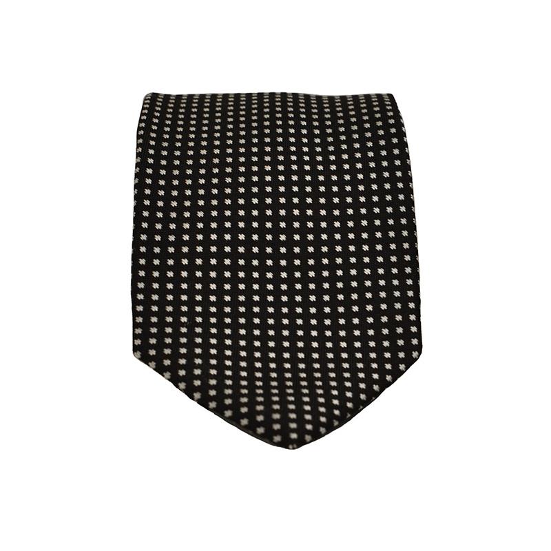 Cravatta seta nera quadretti